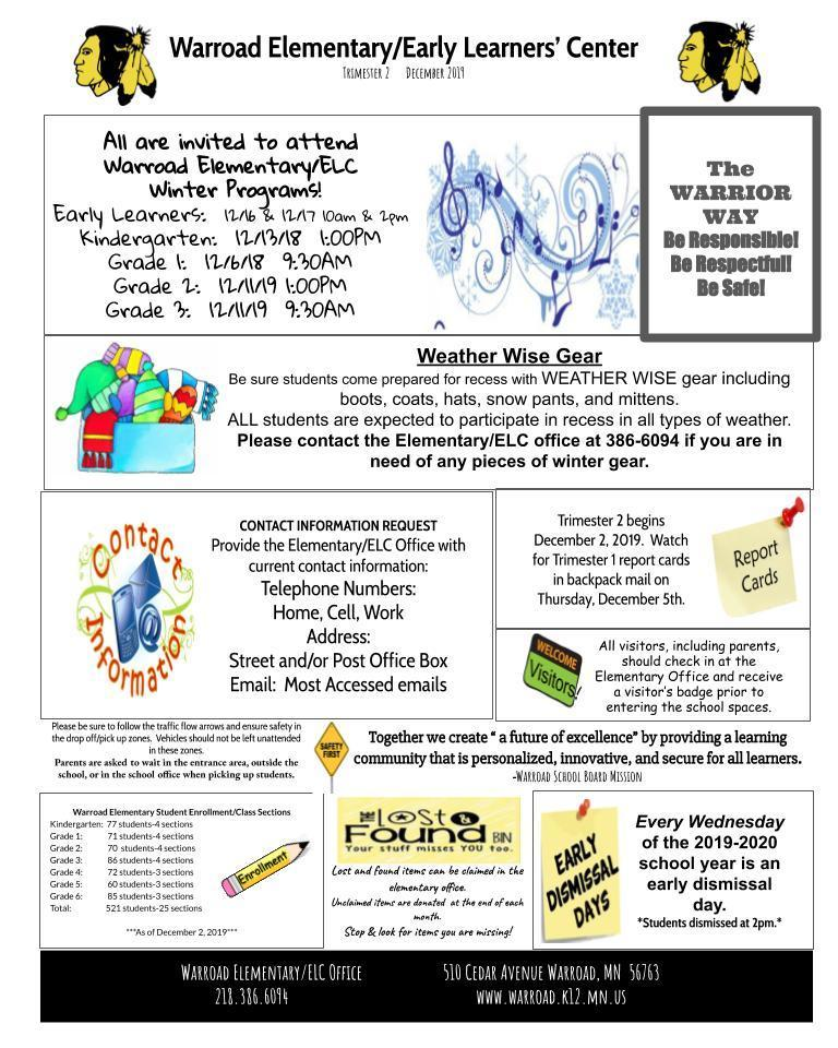 Warroad Elementary/Early Learners' Center Newsletter