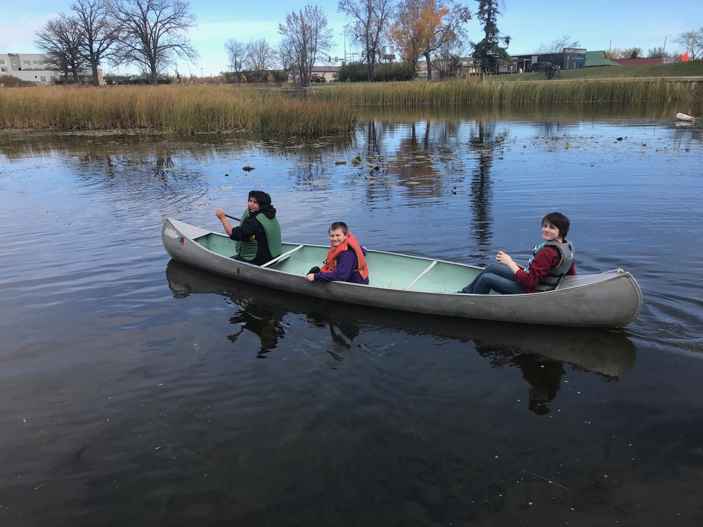 Students in a canoe