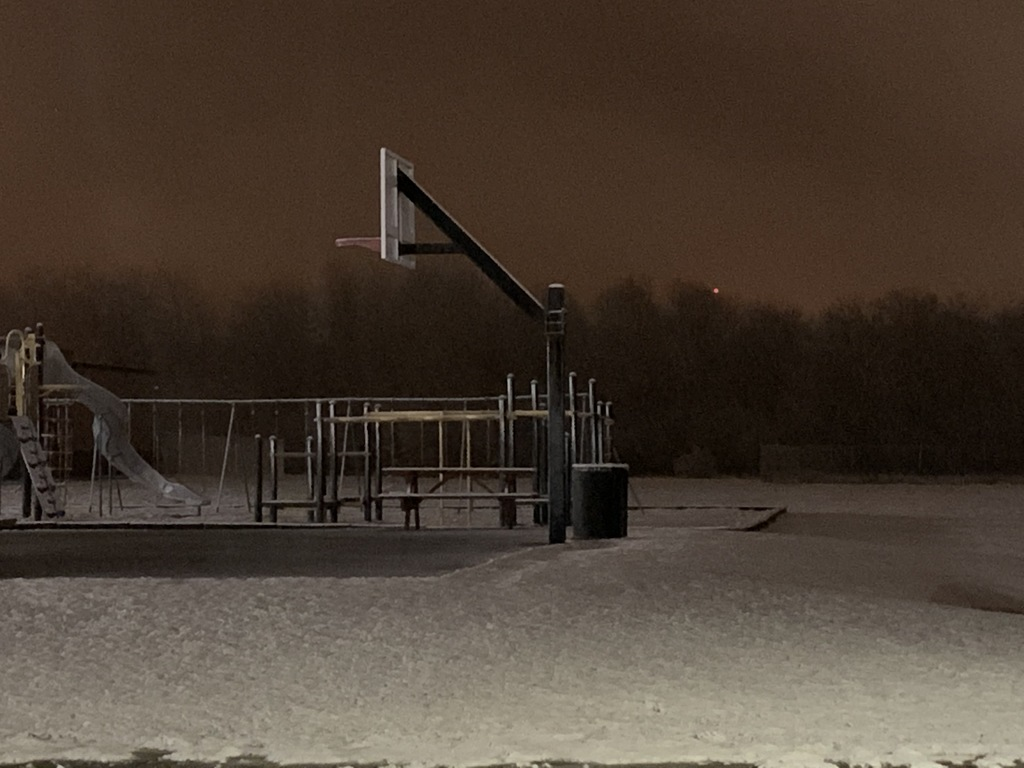 Snow on basketball court